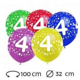 Globos Numero 4 Redondos 32 cm