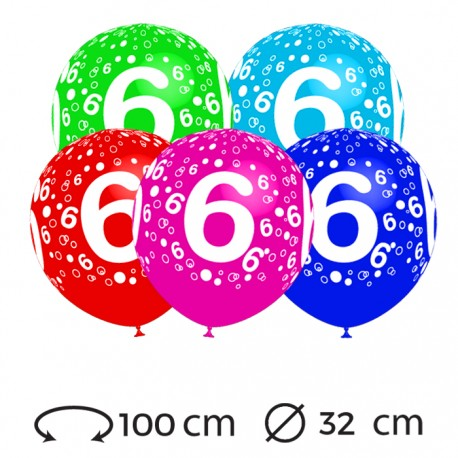Globos Numero 6 Redondos 32 cm