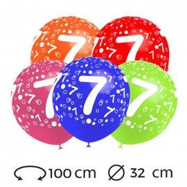 Globos Numero 7 Redondos 32 cm