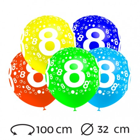 Globos Numero 8 Redondos 32 cm