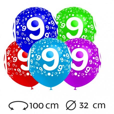 Globos Numero 9 Redondos 32 cm
