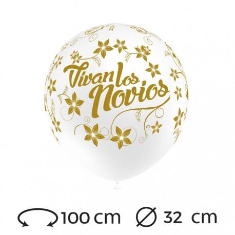 Globos Vivan los Novios Redondos 32 cm