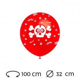 Globos Calavera Pirata Redondos 32 cm
