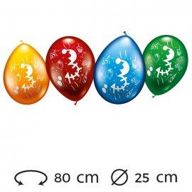 Globos Número 3 Redondos M02 25 cm