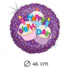Globo Happy Birthday Pastelitos Foil Redondo 46 cm