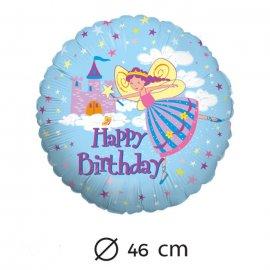 Globo Happy Birthday Hada Foil Redondo 46 cm