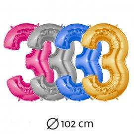 Globo Número 3 Foil 102 cm