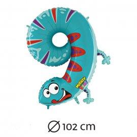 Globo Número 9 Salamandra Foil 102 cm