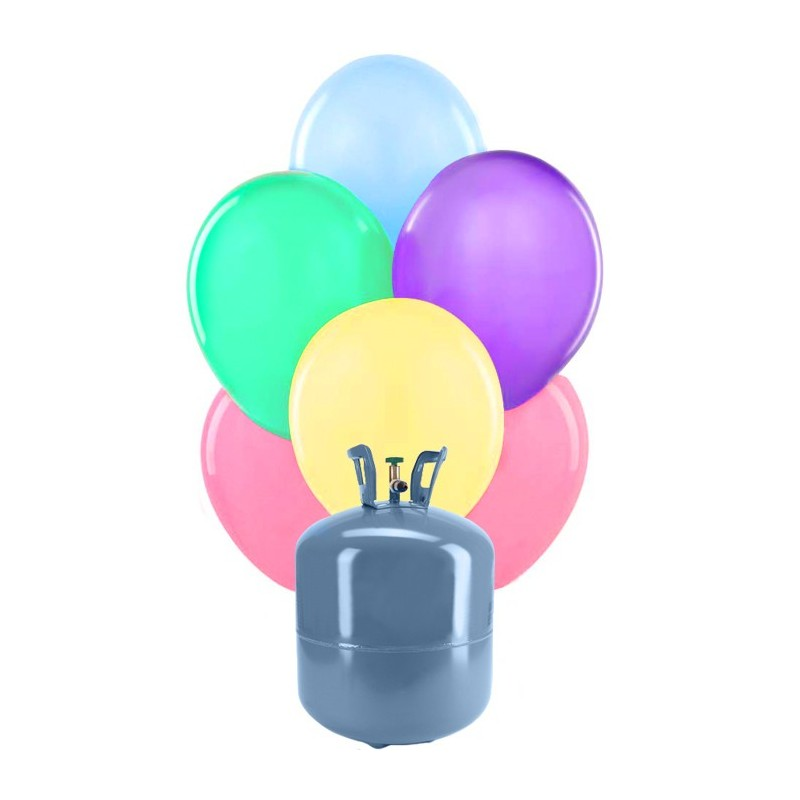 Botella de helio peque a con 30 globos pastel - Llenar globos con helio ...