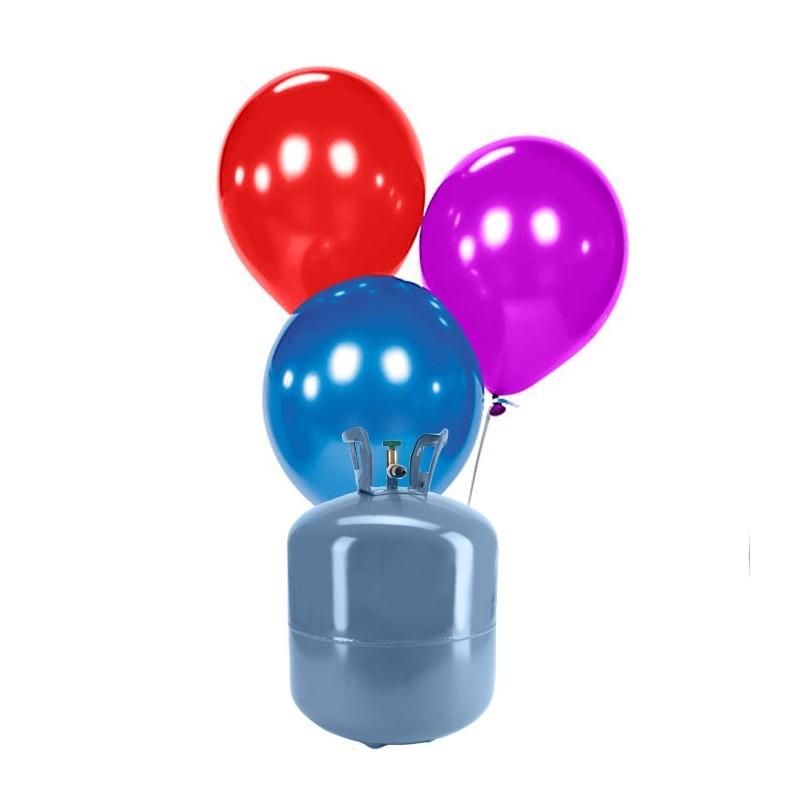 Botella de helio peque a con 30 globos metalizados - Helio para inflar globos barato ...