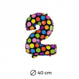 Globo Lunares Numero 2 Foil 40 cm