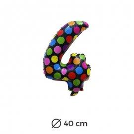 Globo Lunares Numero 4 Foil 40 cm