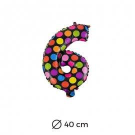 Globo Lunares Numero 6 Foil 40 cm