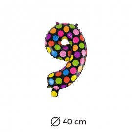 Globo Lunares Numero 9 Foil 40 cm